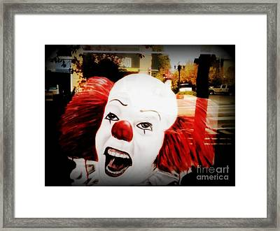 Killer Clowns On The Loose Framed Print by Kelly Awad