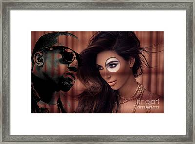 Kim And Kanye Framed Print by Marvin Blaine