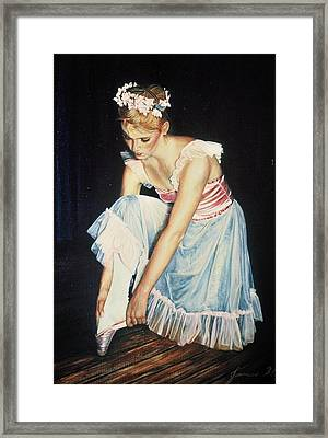 Kim At Her Dress Rehersal Framed Print
