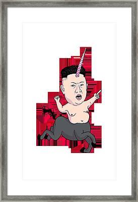 Kim Jong Unicorn Framed Print by Batzaya Ganbat