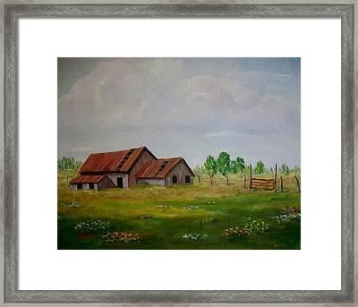 Kim's Barn Framed Print