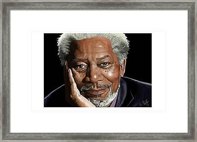 Kind Face Morgan Freeman Framed Print by Brien Miller