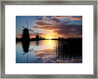 Kinderdijk Sunrise Framed Print by Dave Bowman