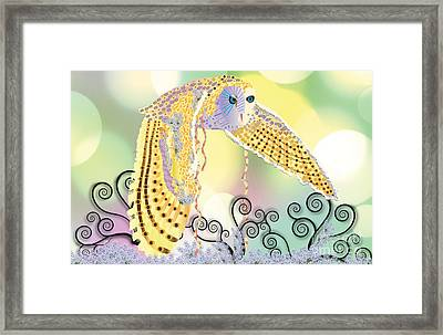 Framed Print featuring the digital art Kindred Light Owl by Kim Prowse