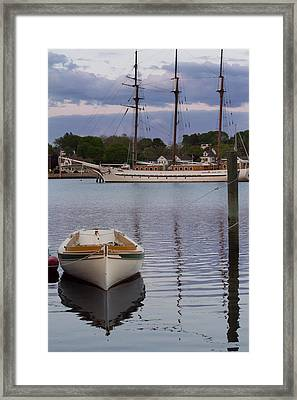 Kindred Spirits - Boat Reflections On The Mystic River Framed Print
