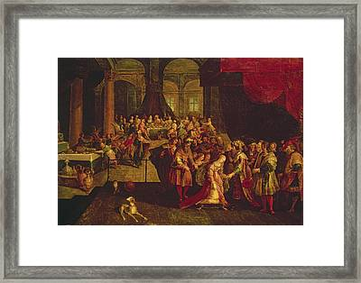 King Ahasuerus Crowns Esther Oil On Canvas Framed Print by Frans II the Younger Francken