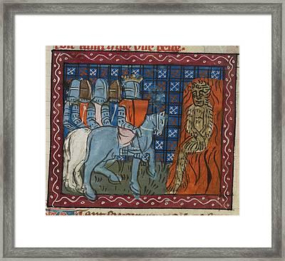 King Alexander Burning A Wild Man Framed Print by British Library