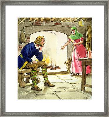 King Alfred Burning The Cakes Framed Print by Trelleek
