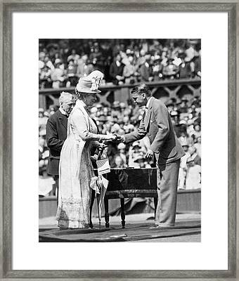 King And Queen At Wimbledon Framed Print by Underwood Archives