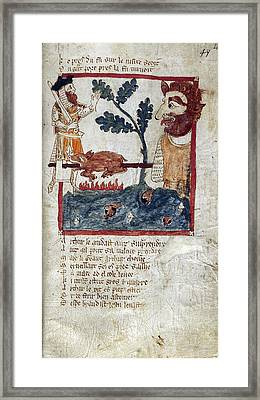 King Arthur And Giant Framed Print by British Library