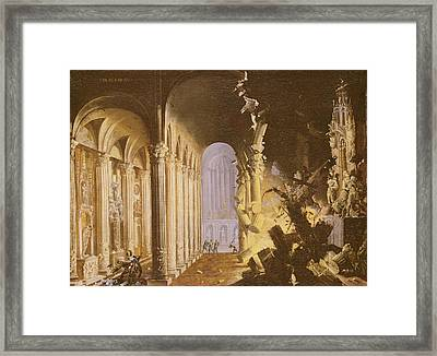 King Asa Of Judah Destroying The Statue Framed Print by Francois de Nome