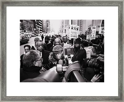 King Best One Nyc Spike Lee And Rev Al Sharpton Sean Bell March By The King Framed Print by King Wells