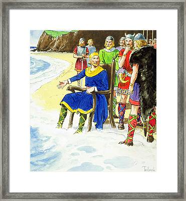 King Canute From Peeps Into The Past Framed Print by Trelleek
