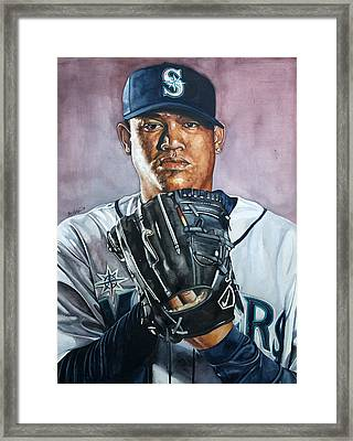 King Felix Hernandez Framed Print by Michael  Pattison
