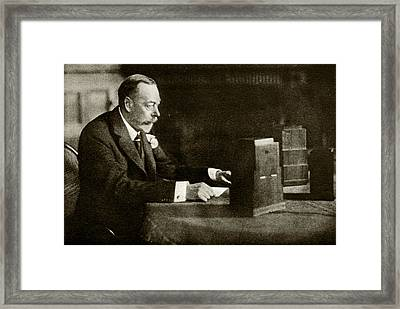 King George V Speaking On The Radio Framed Print by Cci Archives
