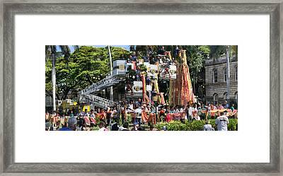 King Kamehameha Draped Framed Print