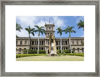 King Kamehameha In Leis Framed Print by Brandon Tabiolo