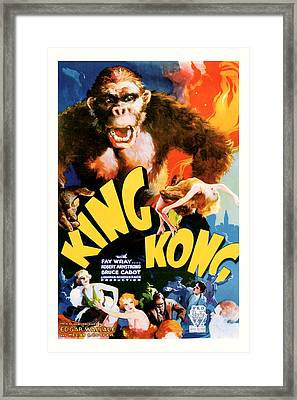 Framed Print featuring the mixed media King Kong 1933 Movie Art by Presented By American Classic Art