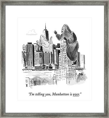 King Kong, Atop The Williamsburgh Savings Bank Framed Print by Emily Flake