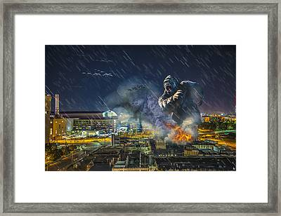 Framed Print featuring the photograph King Kong By Ford Field by Nicholas  Grunas