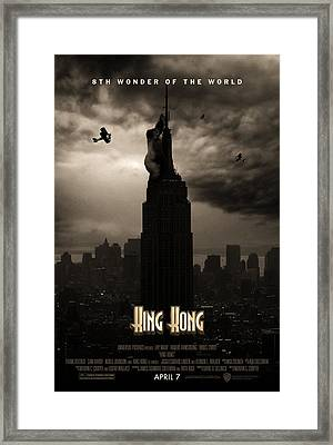 King Kong Custom Poster Framed Print by Jeff Bell