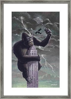 Framed Print featuring the painting King Kong Plane Swatter by Martin Davey