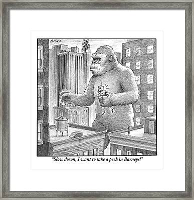 King Kong Stands In A Large City Framed Print by Harry Bliss