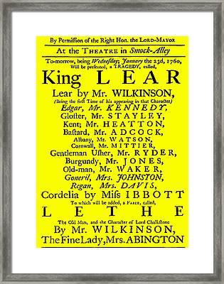 King Lear Playbill Framed Print