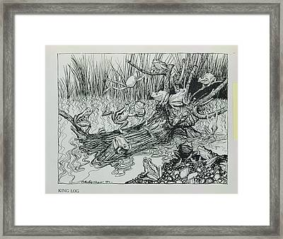 King Log, Illustration From Aesops Fables, Published By Heinemann, 1912 Engraving Framed Print by Arthur Rackham