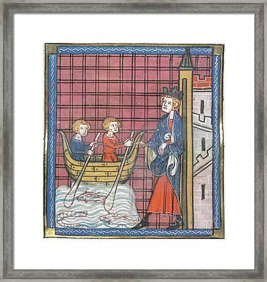 King Louis Ix Sails For France Framed Print