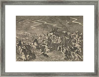 King Louis Xiii Caught Up In Floods And Windstorms Framed Print