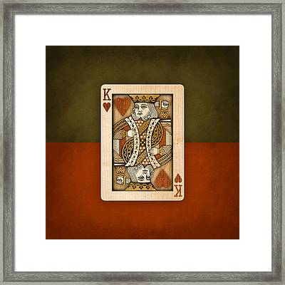 King Of Hearts In Wood Framed Print