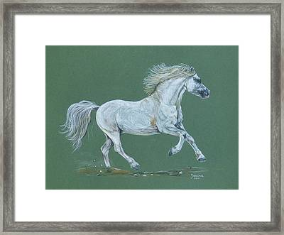 Framed Print featuring the pastel Take Me To The Green Pasture by Janina  Suuronen