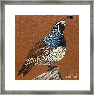 Framed Print featuring the painting King Quail by Jennifer Lake