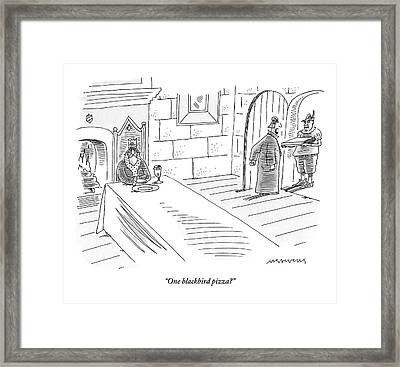 King Sits At His Table While A Steward Answers Framed Print