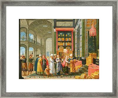 King Solomon And The Queen Of Sheba Oil On Copper Framed Print