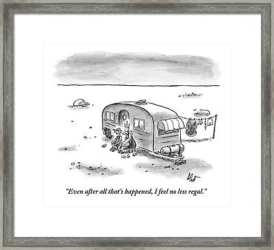 King Speaks To Woman As They Sit Outside Trailer Framed Print