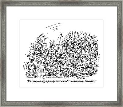 King Stands With Bloodied Sword And Ax On Top Framed Print by David Sipress