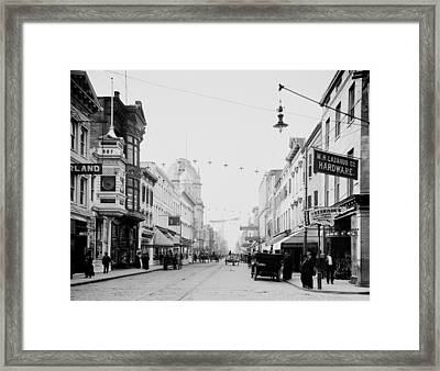 King Street In Charleston South Carolina Circa 1910 Framed Print by Mountain Dreams