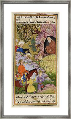 King Visiting A Sage In A Cave Framed Print by British Library
