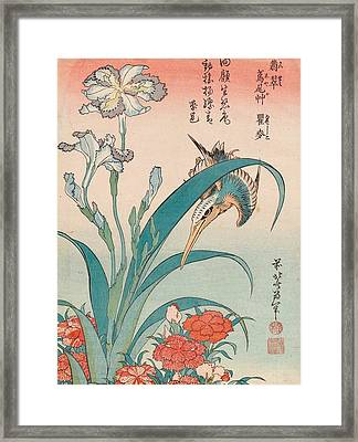 Kingfisher With Iris And Wild Pinks Framed Print by Katsushika Hokusai