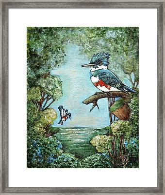 Framed Print featuring the painting Kingfishers Cove by VLee Watson