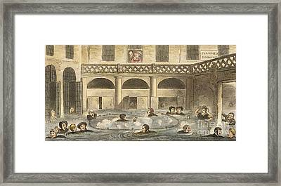 King's Bath Hot Spring At Bath, 1820s Framed Print by British Library