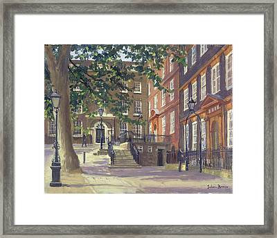 Kings Bench Walk, Inner Temple Oil On Canvas Framed Print by Julian Barrow