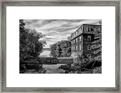 Kingston Mill - Princeton Nj In Black And White Framed Print