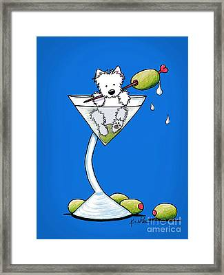 Westie Olive Martini Framed Print by Kim Niles