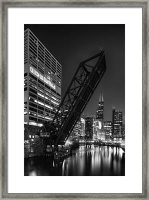 Kinzie Street Railroad Bridge At Night In Black And White Framed Print by Sebastian Musial