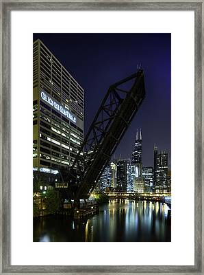 Kinzie Street Railroad Bridge At Night Framed Print by Sebastian Musial