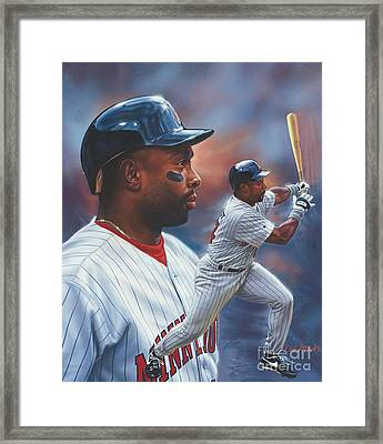 Kirby Puckett Minnesota Twins Framed Print by Dick Bobnick
