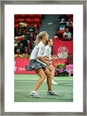Kirilenko And Hingis In Doha Framed Print by Paul Cowan